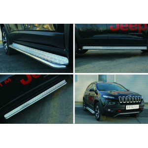 Jeep Cherokee Trailhawk 2014- Пороги труба d42 с листом (Лист алюм,проф.нерж)(Вариант1)
