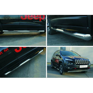Jeep Cherokee Trailhawk 2014- Пороги труба d76 с накладкой (вариант 1)